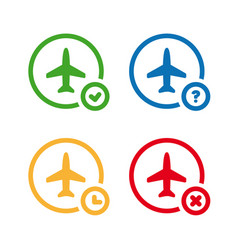 flight status icons airport information symbol vector image