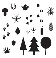 Forest Life Silhouette Outline Icons vector image