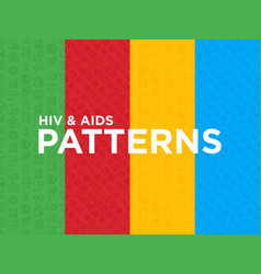 four different hiv and aids seamless patterns vector image