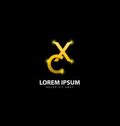 Gold letter x logo xc letter design with golden vector