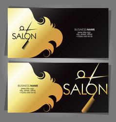 Golden business card for beauty salon concept vector