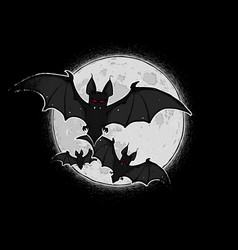 Halloween comic icons - three bats against the vector