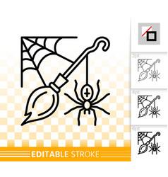 halloween spider web simple black line icon vector image