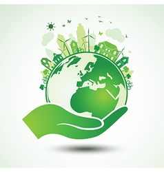 Hand holding earth vector image