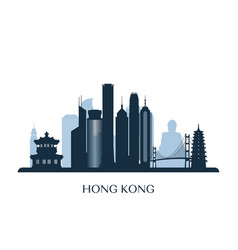 hong kong skyline monochrome silhouette vector image