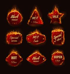 Hot sale burning fire flame black friday shop vector