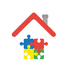 icon concept of four connected jigsaw puzzle vector image