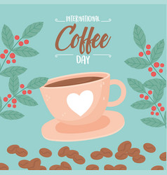 International day coffee cup in plate grains vector