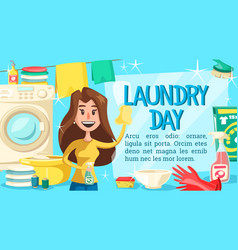 Laundry poster with woman doing household chores vector
