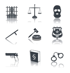 Law and justice icons black vector