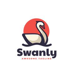 Logo swan simple mascot style vector