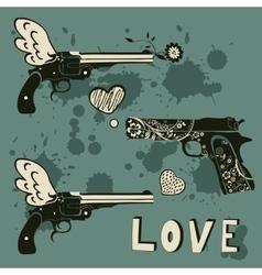 Love guns set Vintage emblems with gun shooting a vector