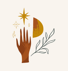Magical sacred hand and plant healing and vector