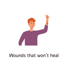 Man with bleebing wound on arm cartoon style vector