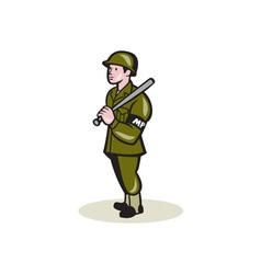 Military Police With Night Stick Baton Cartoon vector