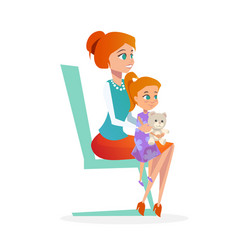 mother with daughter in pediatrician appointment vector image