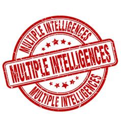 Multiple intelligences red grunge stamp vector