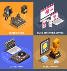 music industry concept icons set vector image