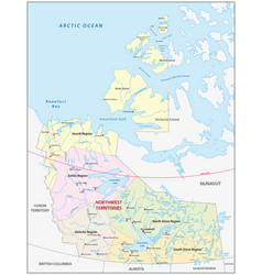 Northwest territories administrative map canada vector