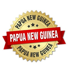 Papua New Guinea round golden badge with red vector