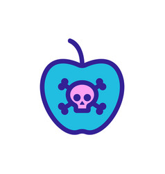 Poisoned fruit icon isolated contour vector