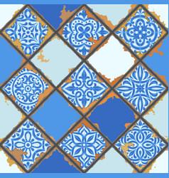 Portuguese azulejo vintage ceramic tile seamless vector