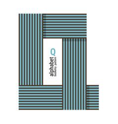 Q - unique alphabet design with basketry pattern vector