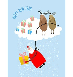 Santa Claus comes down on a rope and gives a gift vector image