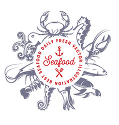 seafood daily fresh seafood vector image