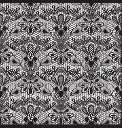 Seamless detailed lace pattern on white background vector