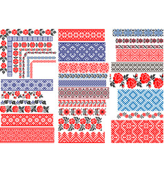 seamless ethnic and vintage embroidery patterns vector image
