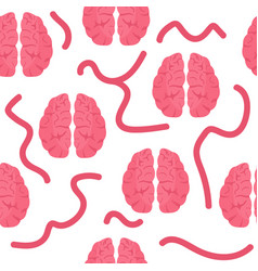 seamless pattern with pink brains vector image