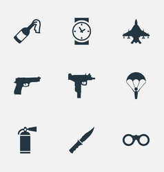 set 9 simple military icons can be found such vector image