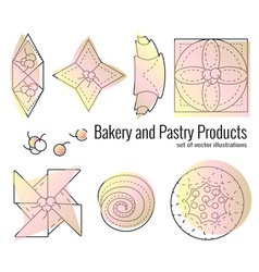 Set bakery and pastry products in outline style vector