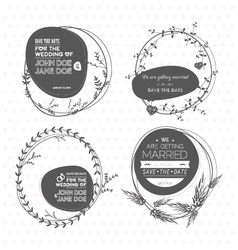 set floral wedding stamps vector image