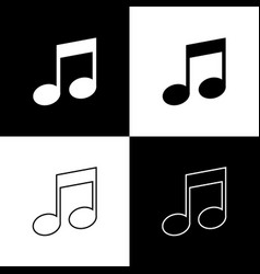 set music note tone icons isolated on black and vector image