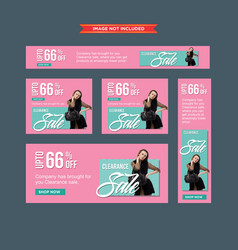 set of modern pink and blue clearance sale web vector image