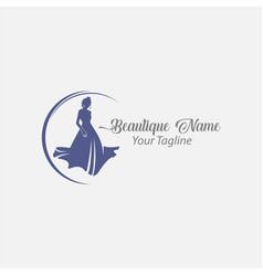 Shop logo fashion woman black silhouette diva vector