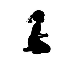 silhouette girl sitting lap prayer vector image