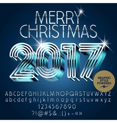 Silver futuristic Merry Christmas greeting card vector image vector image