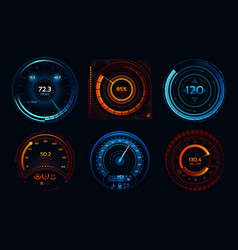 speedometer indicators power meters fast or slow vector image