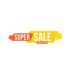 super sale discount red and yellow tag flat vector image