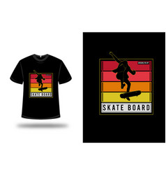 T-shirt brooklyn ny skate board color red orange vector