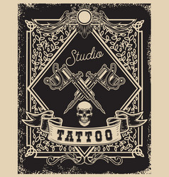 tattoo studio poster template crossed tattoo vector image