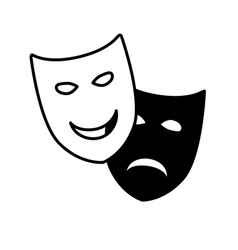 theatrical drama and comedy masks vector image