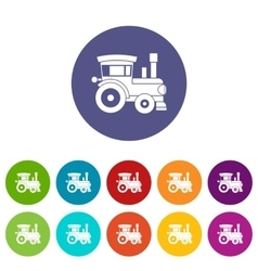 Toy train set icons vector