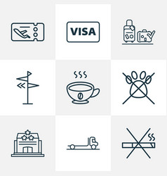 Traveling icons line style set with luggage check vector