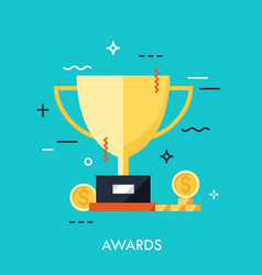 trophy for first place winner icon thin line vector image