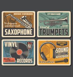 Trumpets retro vinyl records mic and saxophone vector