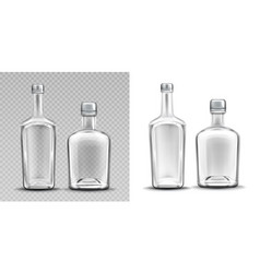 two empty glass bottles for alcohol whiskey vector image